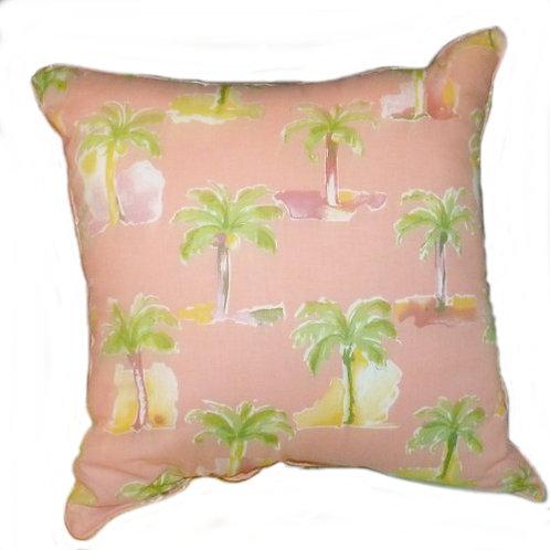 Modern Palm Coral Throw Pillow