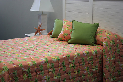 Modern Palm Coral Coverlet