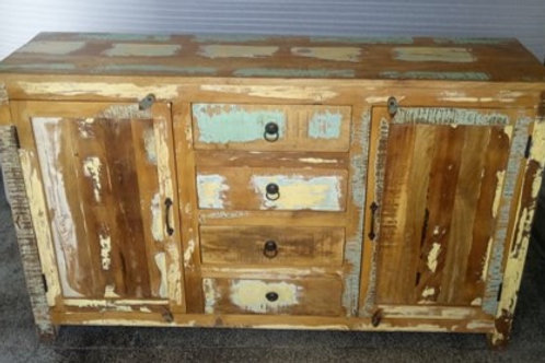 Indian Reclaimed Wood Four Drawer, Two Door Sideboard Chest