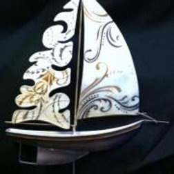 Sailboat with White Swirls Table Top Decor