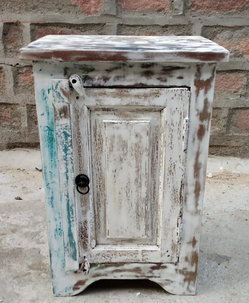 Indian Reclaimed Wood Whitewash Bed Side Table