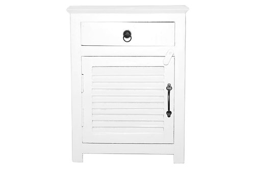 Pure White Wood Side Table with Shutter Style Door (MDA-77PW)