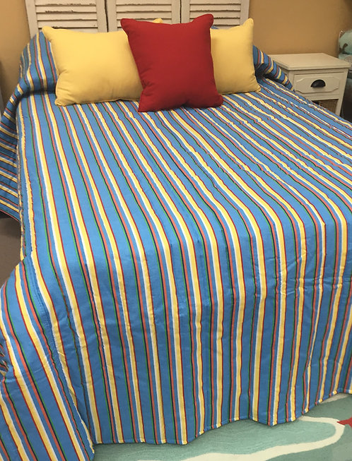 Bright Multi Stripe Bedspread