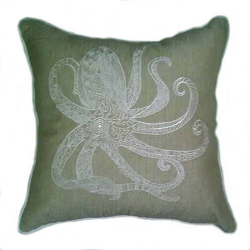 Octopus Embroidered Throw Pillow