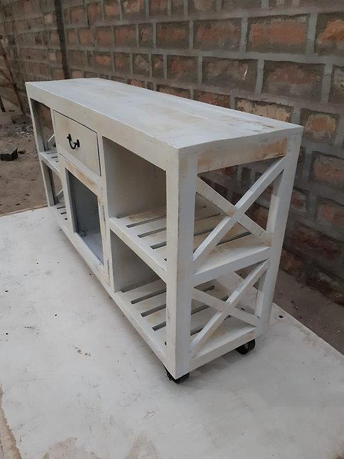 Kitchen Shelf Trolley Whitewash Finish