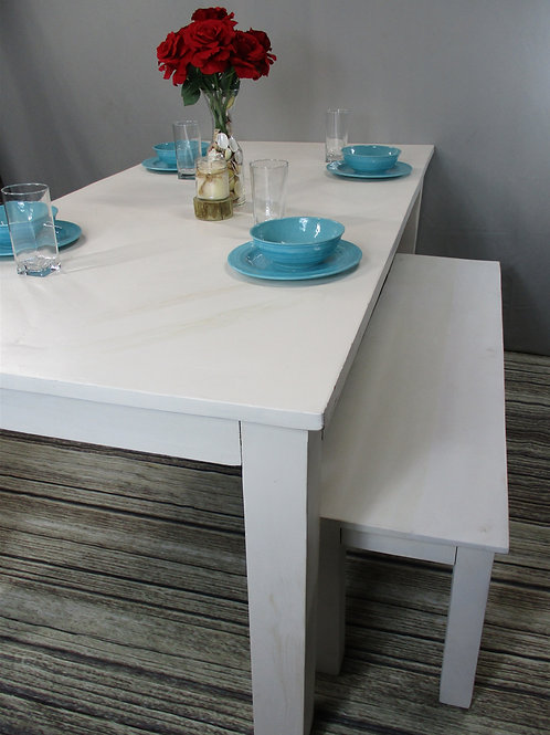 Indian Reclaimed Pure White Finish Dinning Room Table with Design (MDA-134PW)
