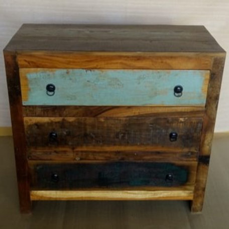 Indian Reclaimed Wood Three Drawer Chest (MDA-24)