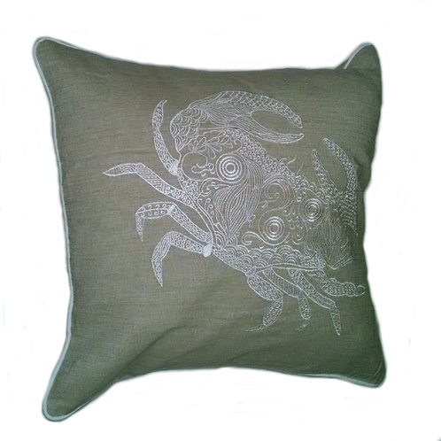 Embroidered Crab Pillow Cover
