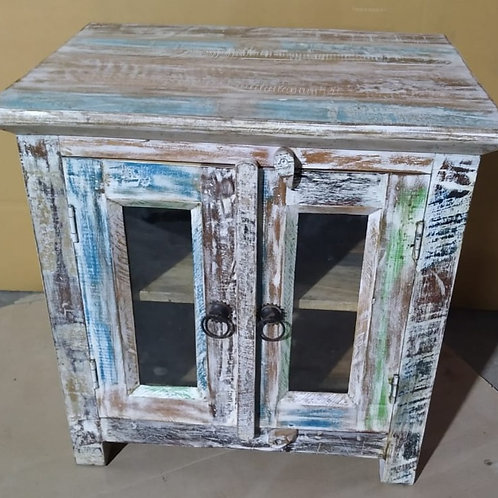 Indian Reclaimed Whitewash Wood TV Stand