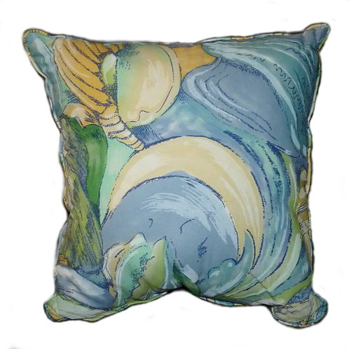 Blue & Green Shell Throw Pillow
