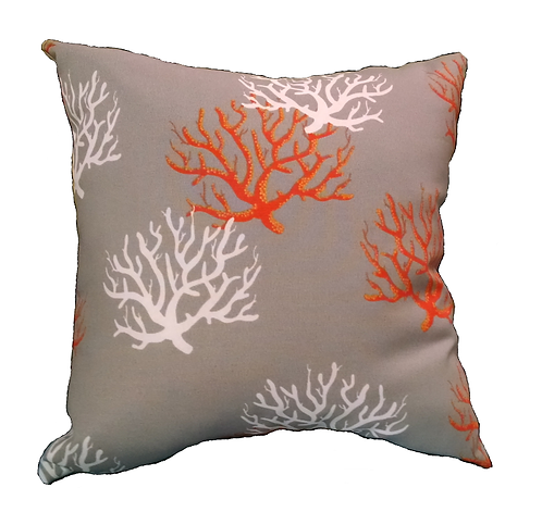 Corals on Taupe Throw Pillow
