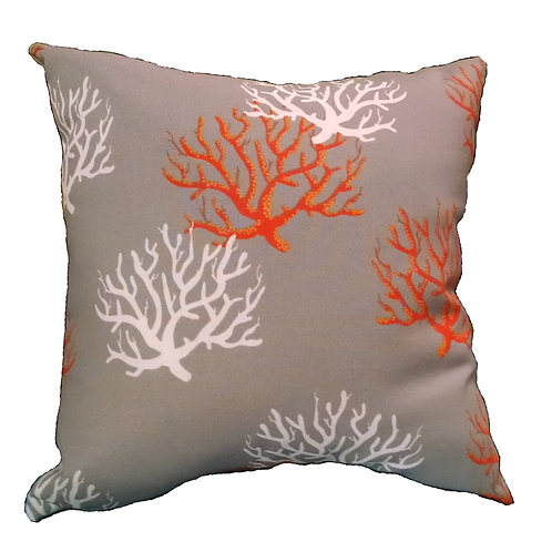 Corals on Taupe Pillows