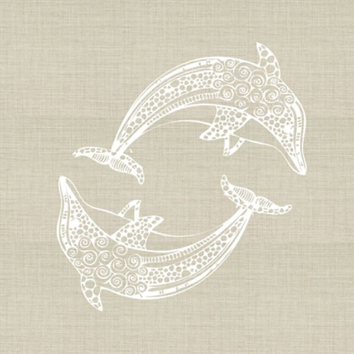 Dolphins Embroidered Pillow Cover