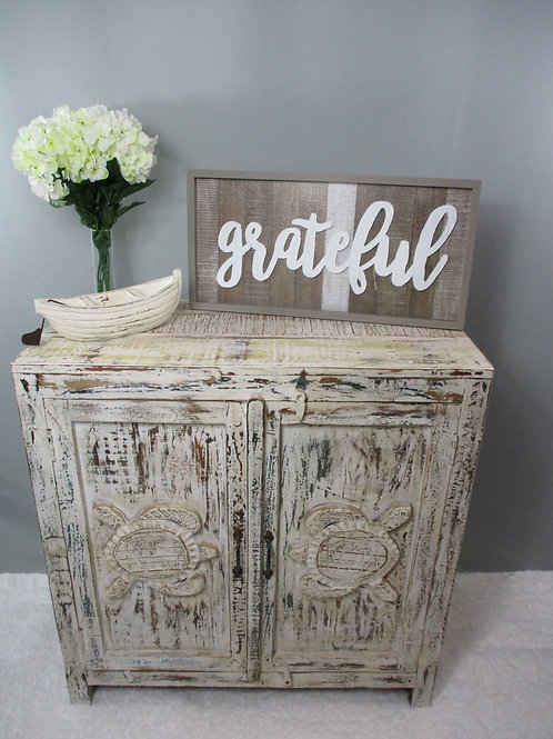 Indian Reclaimed Whitewash Wood Turtle Sideboard