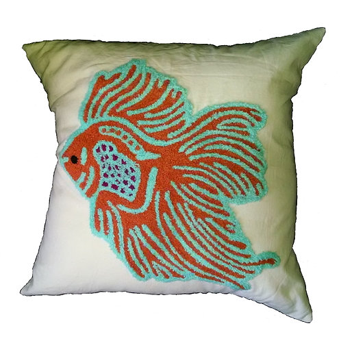 Fish Embroidered Pillow Cover