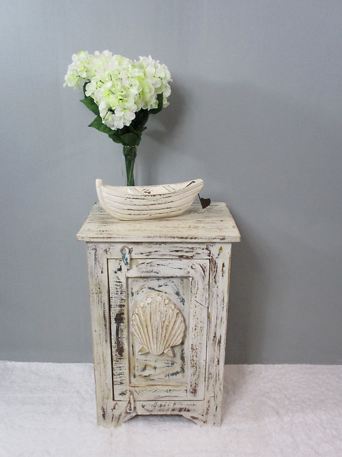 Indian Reclaimed Whitewash Wood Shell Bedside Table