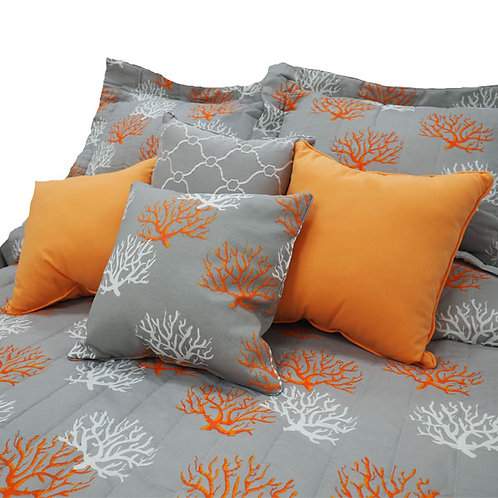 White and Orange Corals on Grey Coverlet