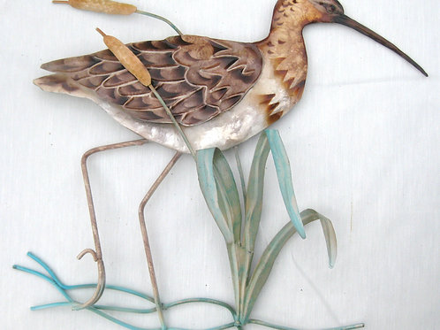 Sandpiper with Cattails Wall Decor
