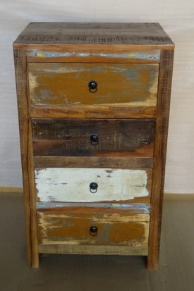 Indian Reclaimed Wood Four Drawer Chest
