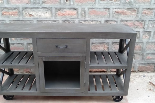 Kitchen Shelf Trolley Grey Stain Finish