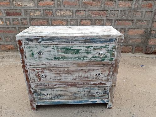 Indian Reclaimed Whitewash Finish Wood Dresser