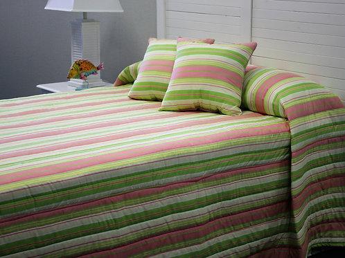 Pink/Green Stripe Bedspread