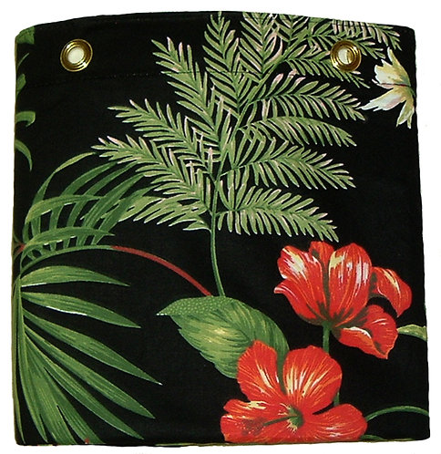 Tropical Black Shower or Stall Curtain