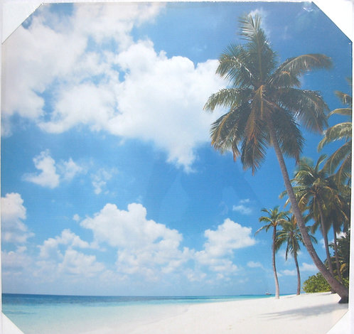 White Sand Beach with Palm Trees 20x20