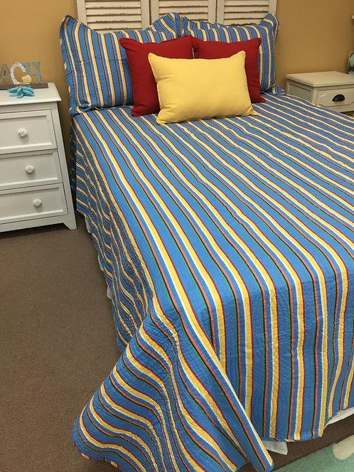 Bright Multi Stripe Quilt Set