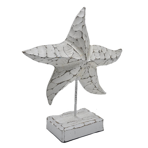 White Distressed Wooden Starfish on Stand
