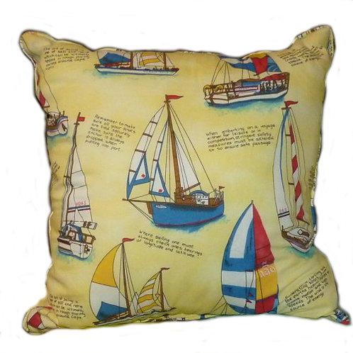Yellow Sailboat Throw Pillow