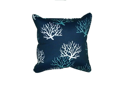 Corals on Navy Pillow