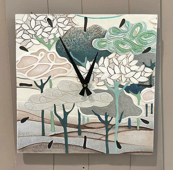 """Pezzo Unico """"Un Nuovo Giorno"""": orologio da parete 40x40 cm"""