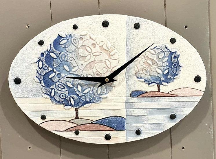 """Pezzo Unico """"Un Nuovo Orizzonte"""": orologio da parete 40x25 cm"""