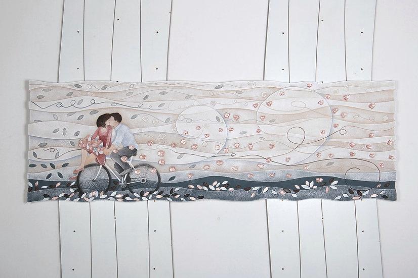 """Pezzo Unico """"Vieni Via con Me"""": quadro sagomato 150x50 cm"""