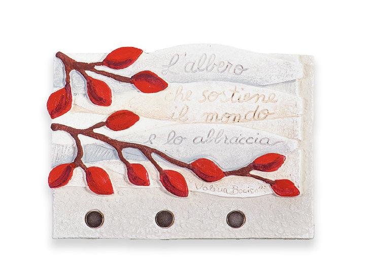 """""""Albero della Vita"""": appendichiavi da parete a tre posti 22x17 cm"""