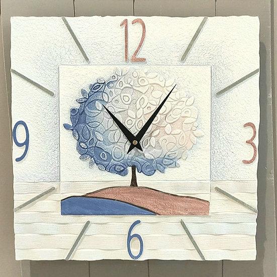 """Pezzo Unico """"Un Nuovo Orizzonte"""": orologio da parete 40x40 cm"""