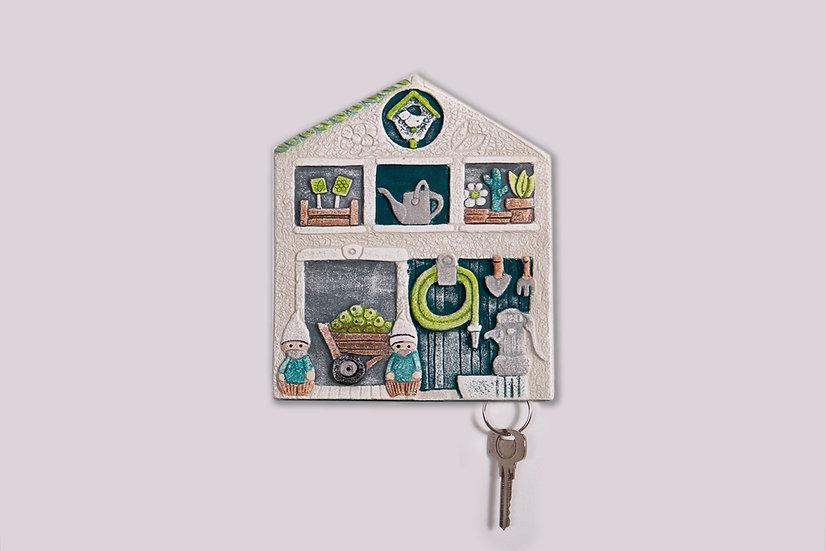 """Fuori Catalogo """"Pollice Verde"""": appendichiavi da parete a tre posti 16x20 cm"""