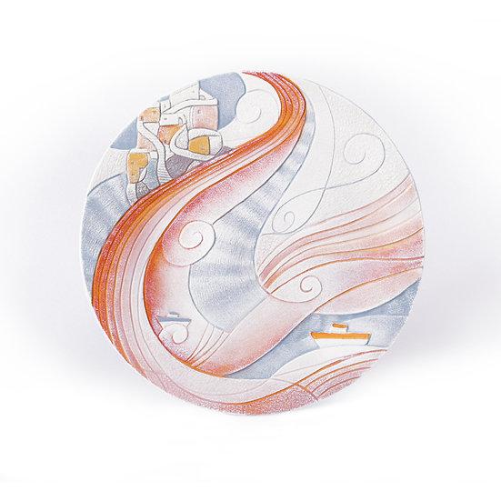 """Fuori Catalogo """"Paesaggi Sospesi"""": piatto da appoggio/da parete Ø 36 cm"""