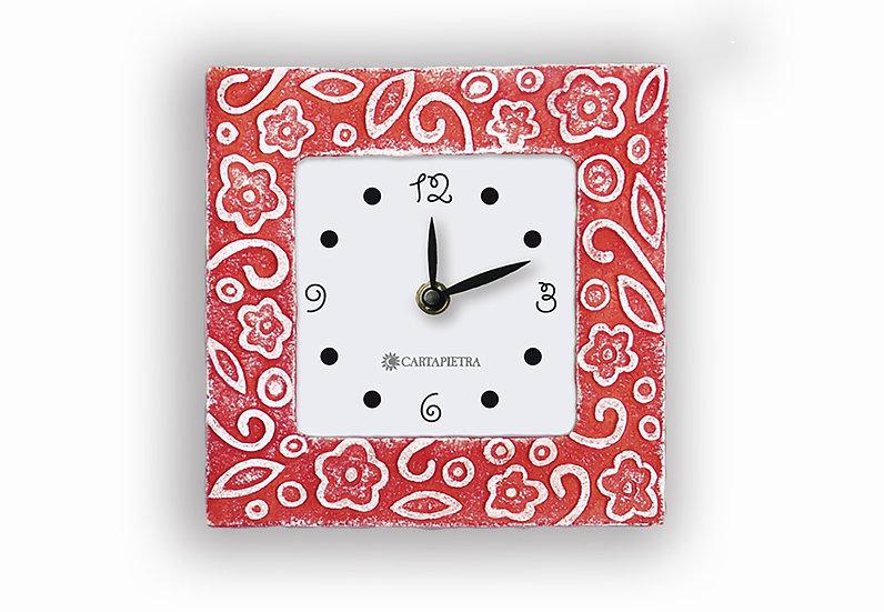 """Fuori Catalogo """"Prati in Fiore"""": orologio da appoggio/da parete 16x16 cm"""