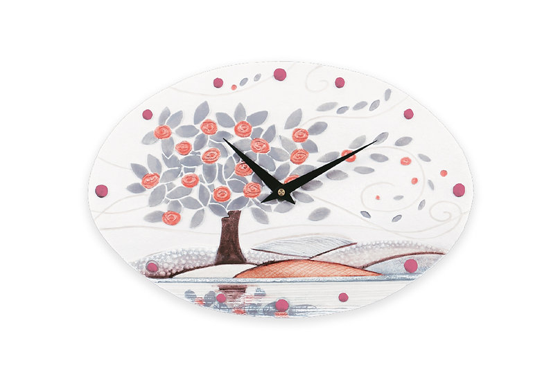 """""""Foglie al Vento"""": orologio da parete 40x25 cm"""
