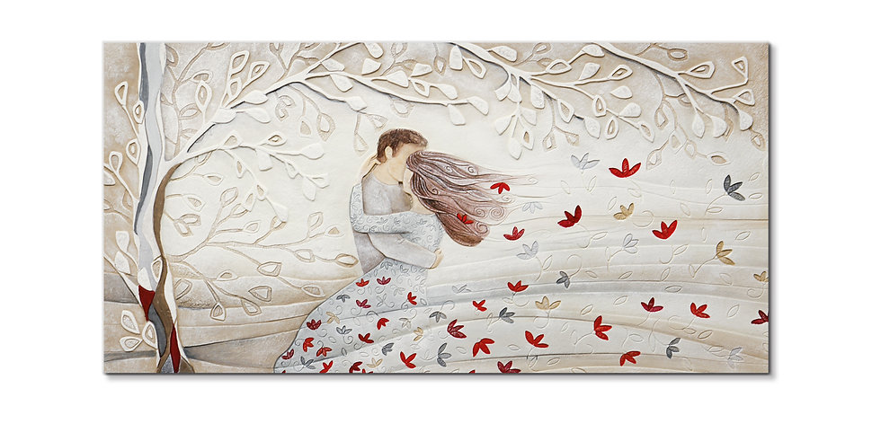 """Tra le Tue Braccia"": quadro 100x50 cm"