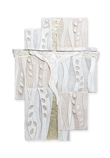 """Caelum"": crocefisso sagomato da parete 50x32 cm (Ulivo Oro)"