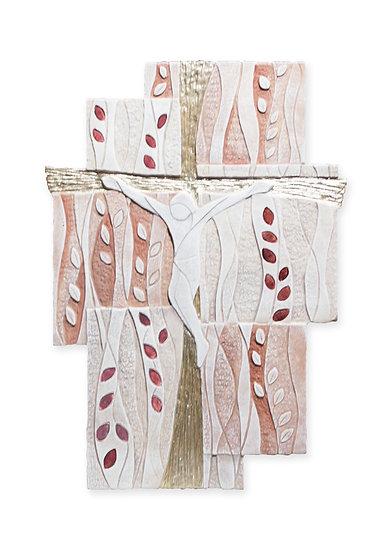 """Caelum"": crocefisso sagomato da parete 50x32 cm (Ulivo Rosso)"
