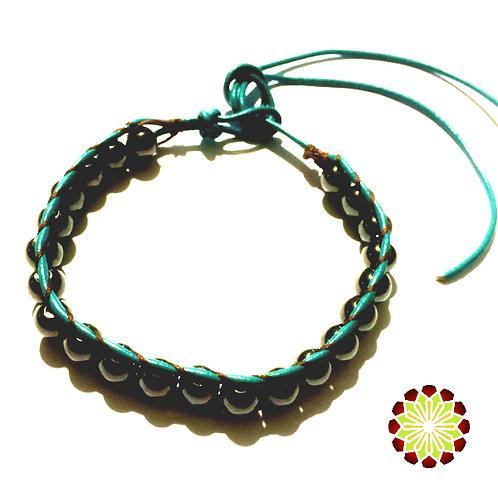 Leather Beaded Bracelet. Blue with Hematite beads.