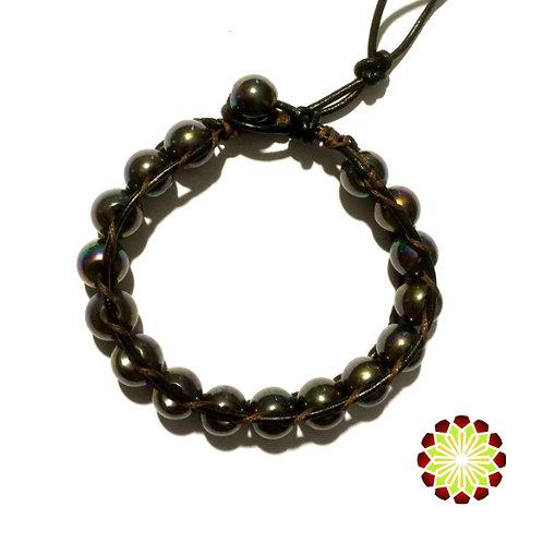 Leather / Beaded Rainbow Hematite Bracelet