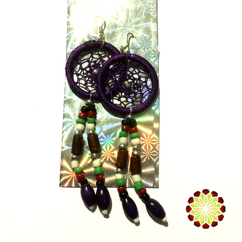Dreamcatcher Earrings. Amethyst Colour