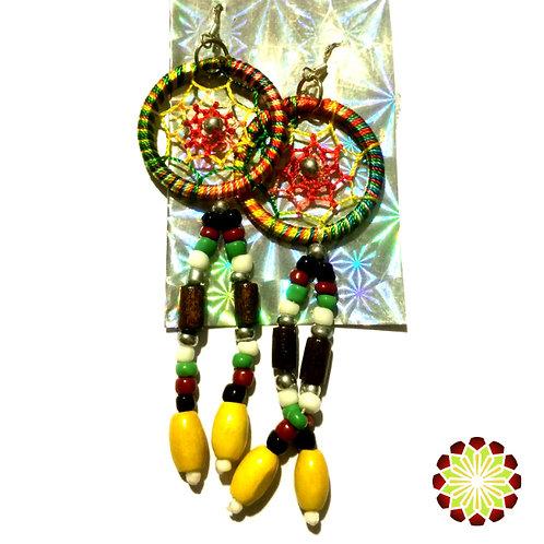 Dreamcatcher Earrings. Rainbow Colour