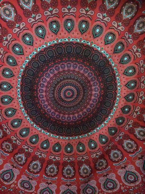 Wall Hanging Mandala - Red. Fabric
