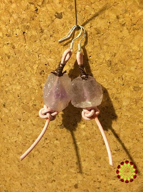 Leather Amethyst Pink Earrings